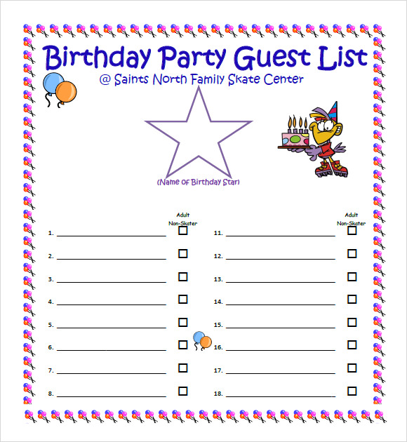 Wonderful Birthday Party Guest List Template