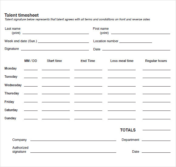 9 Blank Timesheet Templates Free Sample Example Format – Free Blank Time Sheets