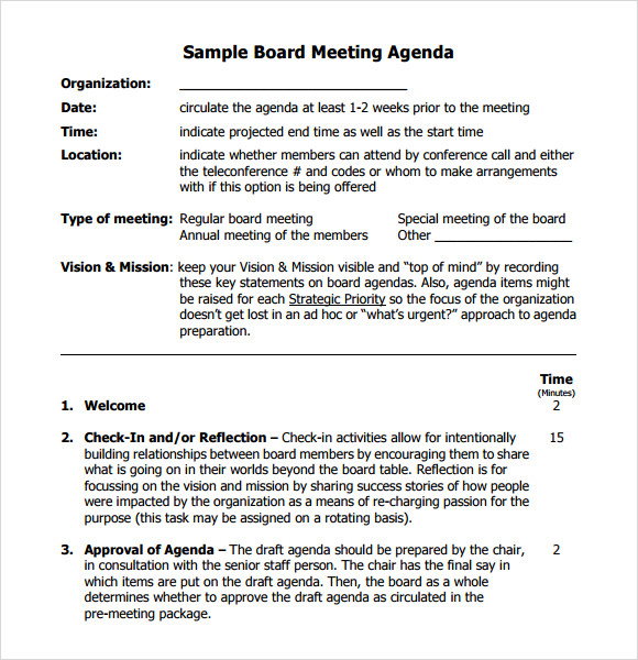 Board Meeting Agenda 11 Free Samples Examples Format – Conference Agenda Sample