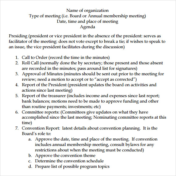 12 board meeting agenda templates  u2013 free samples  examples