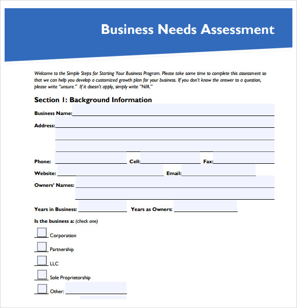 business needs assessment template