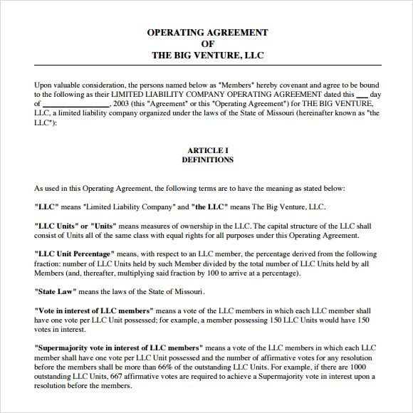 Operating Agreement Llc Operating Agreement Template Professional