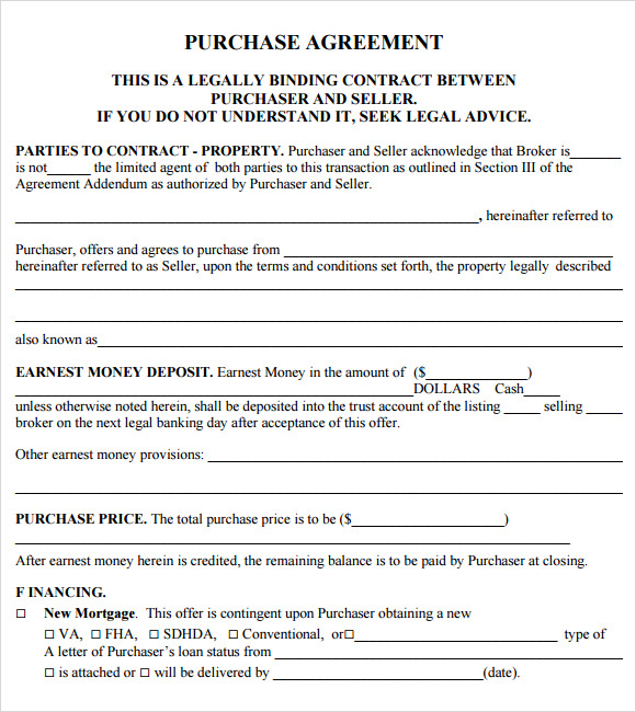 Purchase Offer Template Sample Real Estate Purchase Agreement