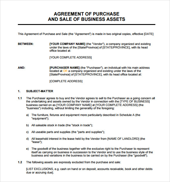 free business asset purchase agreement template  Sample Asset Purchase Agreement - 8  Documents in Word, PDF