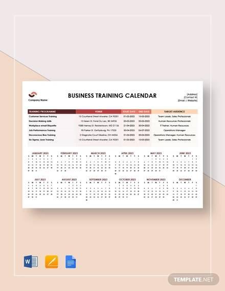 business training calendar template
