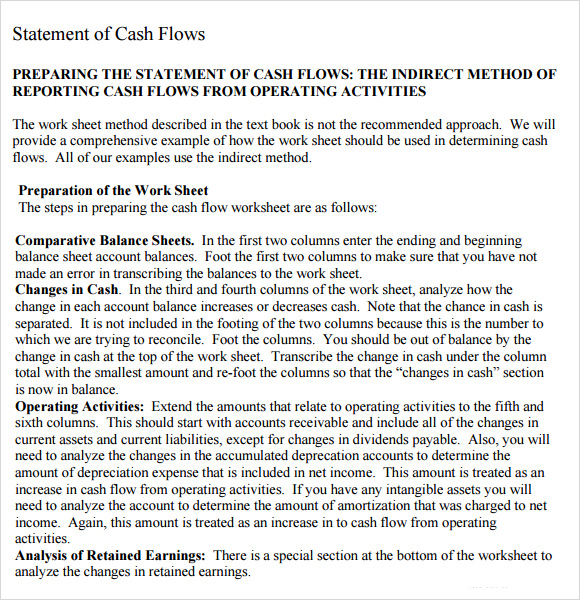 cash flow statement indirect method