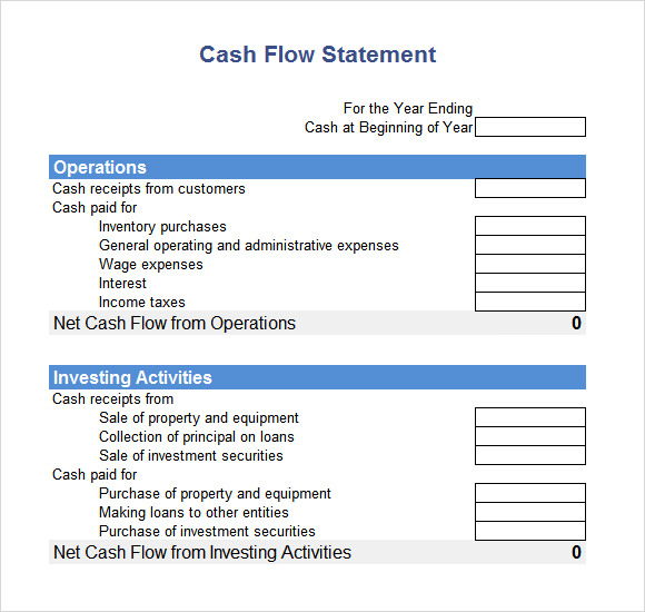 cash flow statement template excel