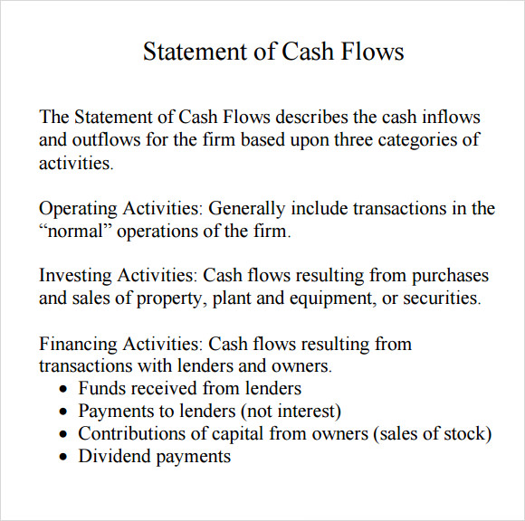 cash flow statement template pdf
