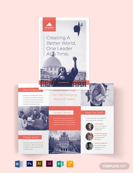 college recruitment bi fold brochure template