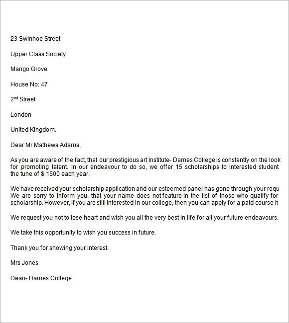 College Rejection Letter     7 Free Samples Examples Format ob0Aidb9