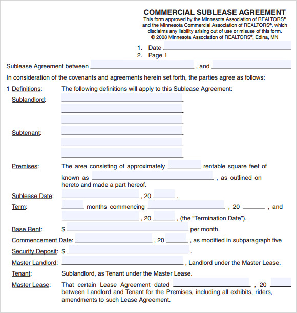 Commercial Sublease Agreement Template US  LawDepot
