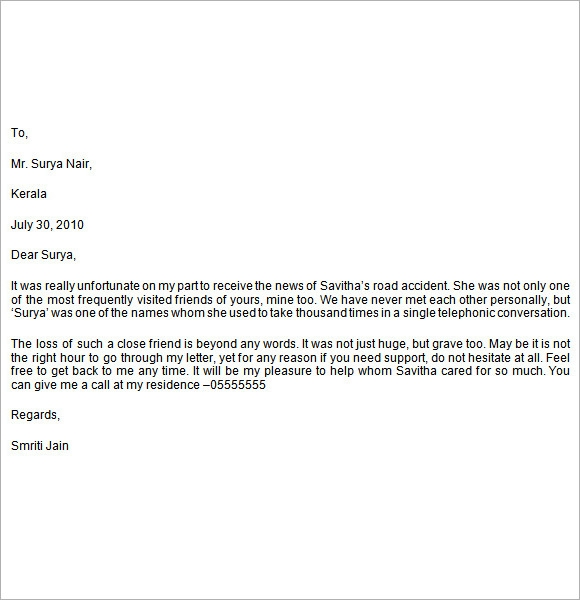 letter sample – Example of Sympathy Letter