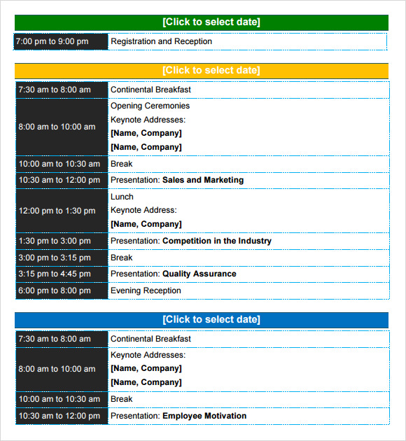 conference itinerary template