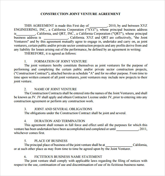 11 sample joint venture agreements sample templates for Jv agreement template free