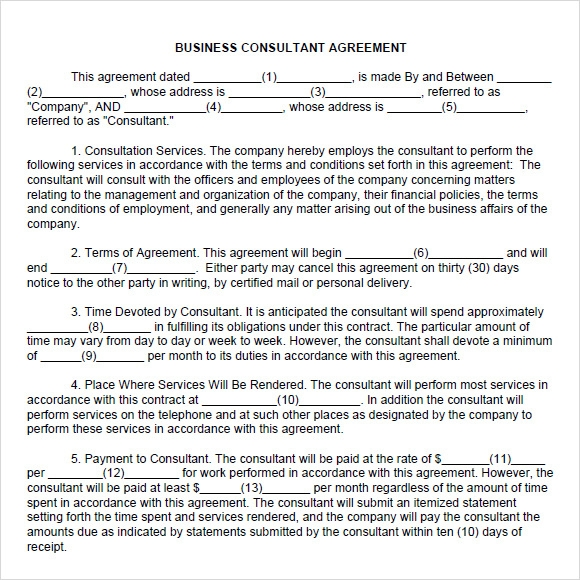 Sample Consulting Agreement 9 Documents In PDF Word – Business Consulting Agreement Template