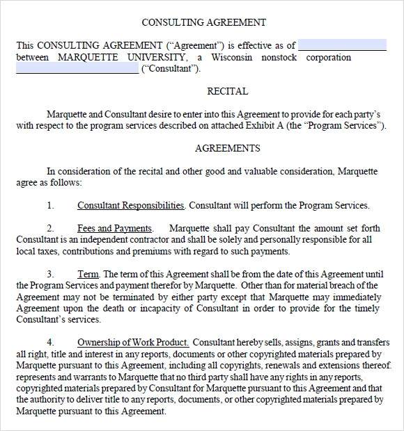 consulting agreement template pdf