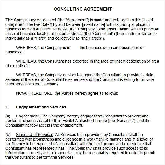 Sample Consulting Agreement 9 Documents In Pdf Word
