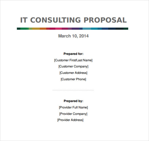 Proposal Template  Consulting Services Proposal Template  Cover