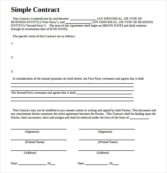 sample contractual agreement