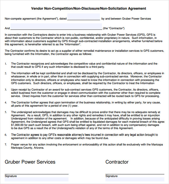Non Pete Agreement Form Employee Non Pete Agreement