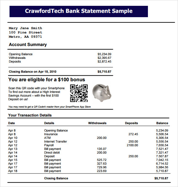 crawfordtech bank statement sample