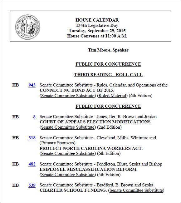 Agenda Calendar Template   Free Samples  Examples  Format