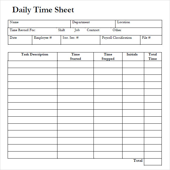 Daily Timesheet Template Free Download  Free Printable Timesheet Template