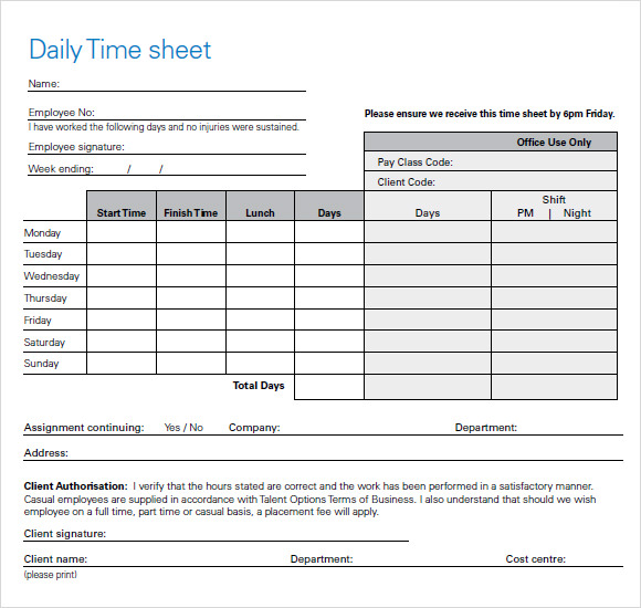 sample timesheet for hourly employees