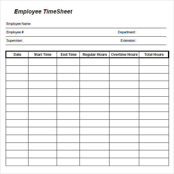 Daily Timesheet Templates - Free Sample, Example, Format