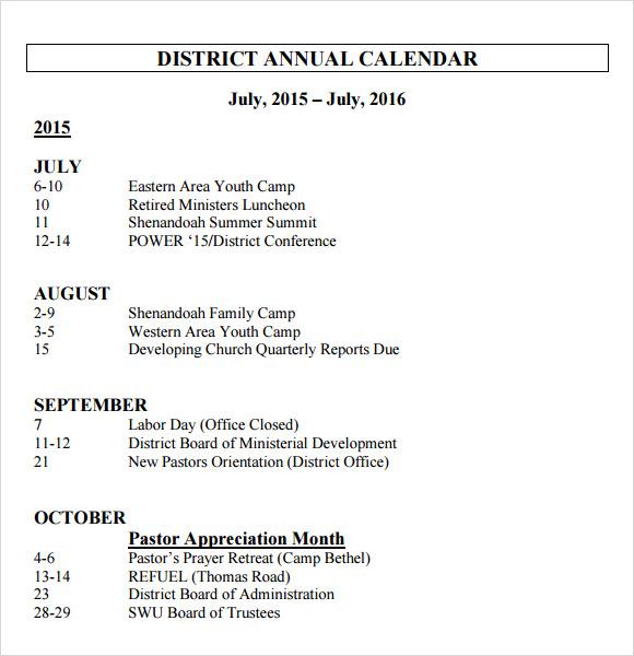 district annual calendar template