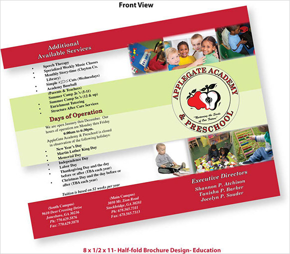 10 preschool brochure vector eps psd for Educational brochure templates