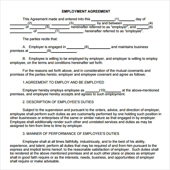 Employment Agreement In Pdf Employment Agreement Template Free