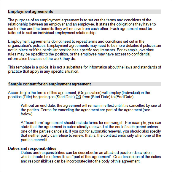 8 sample employment agreements sample templates for Terms of employment contract template