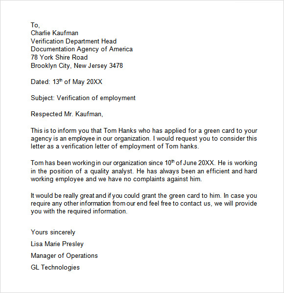 Verification Letter For Immigration Employment Verification – Employment Verification Letter Template Word