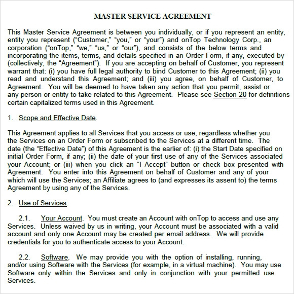 Sample Master Service Agreement - 8+ Documents In Pdf, Word