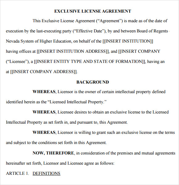 License agreement 7 free samples examples format for Commercial property licence agreement template
