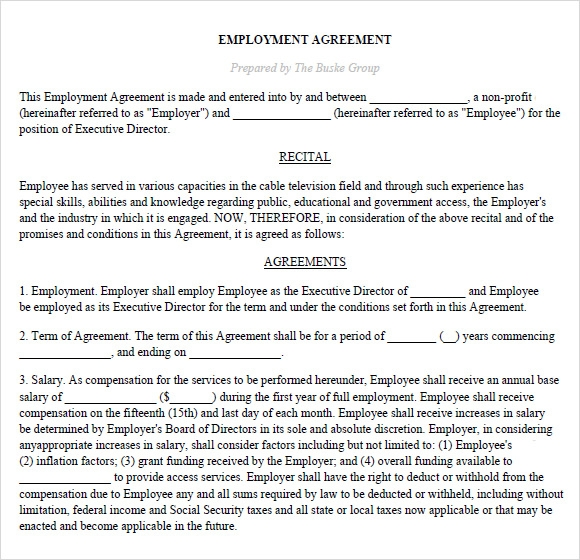 Sample Executive Agreement   Documents In Pdf Word