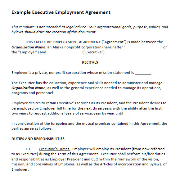 6+ Sample Executive Agreements | Sample Templates