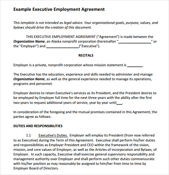Sample Employment Agreement 7 Documents In PDF Word – Executive Employment Agreement