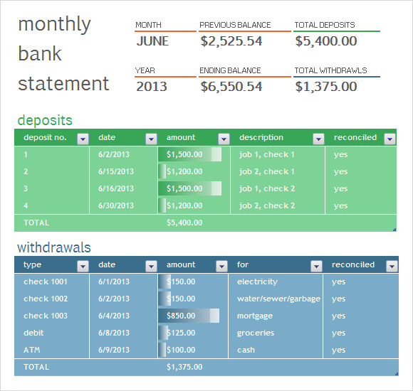 Excel Bank Statement Template