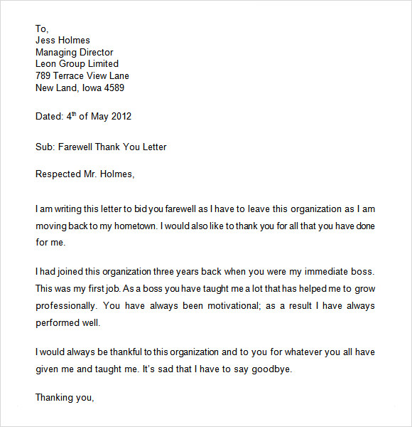 fare well letter template