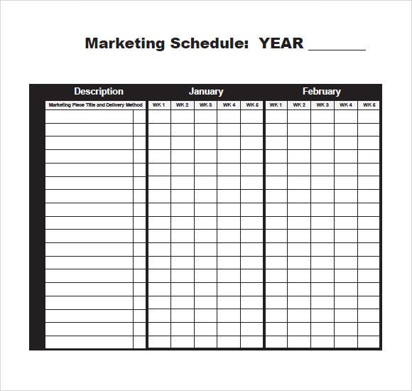 sample marketing schedule