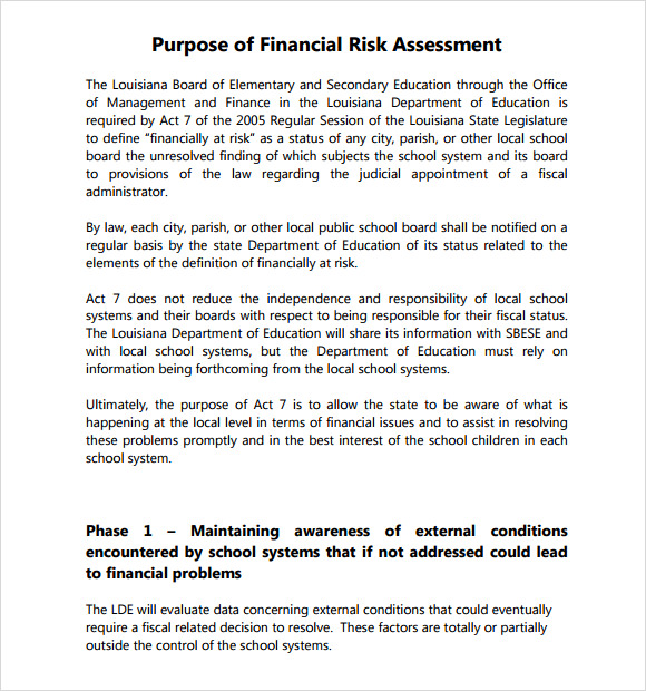 7 security risk assessment samples sample templates for Financial assessment template