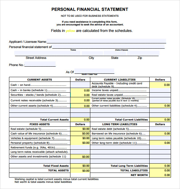 Sample Financial Statement Personal Financial Statement Template