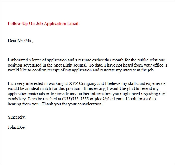 Job Application Thank You Letter Email