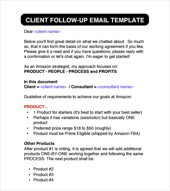 Sample Follow Up Email - 5+ Examples, Format