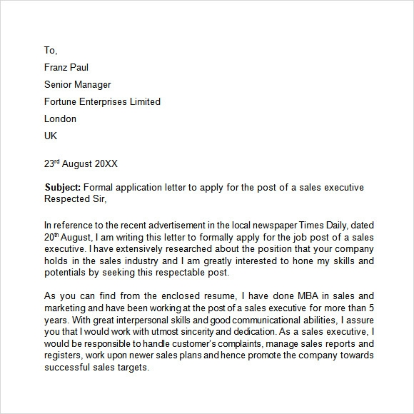 Application Letter 9 Free Samples Examples Format