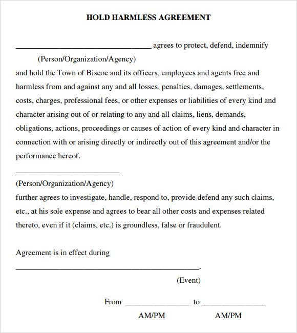 Sample Hold Harmless Agreement 8 Documents In PDF Word – Hold Harmless Agreement Template