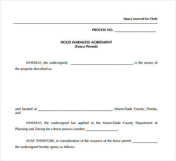 Sample Hold Harmless Agreement   Documents In Pdf Word
