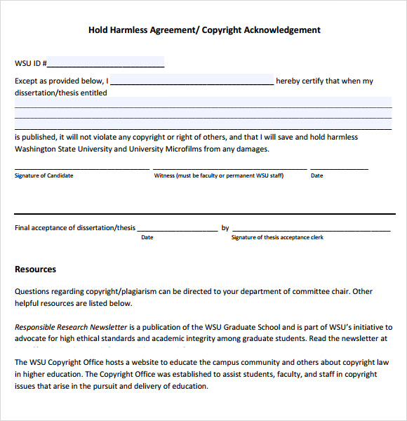 Hold Harmless Agreement 9 Free Samples Examples Format